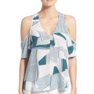 Trouve Silk Geometric Cold Shoulder Blouse